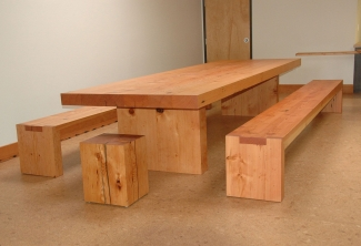 Reclaimed-Doug-Fir-Conference-Table-Benches-stool