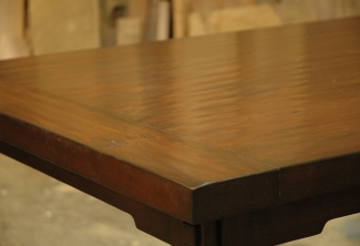 American-Cherry-Dining Table-with-Through-Tenon-Breadboard-End-with-Handscraped-Finish