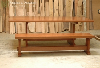 American-Cherry-Trestle-Bench-and-Table-with-cable-management-grommets-side-view