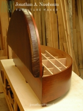 Stained-Alder-and-Leather-Curved-Front-Chest-with-removable-Cedar-Shoe-Dividers