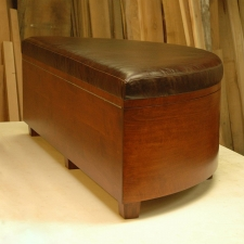 Alder & Leather Curved Front Chest with removable Cedar Shoe Dividers
