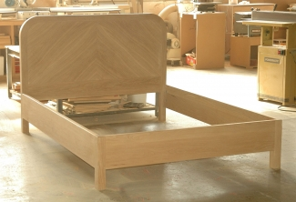Stained-Oregon-White-Oak-Curved-Headboard-Bed-unfinished