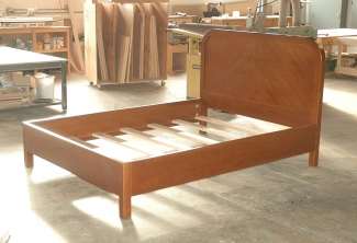 Stained-Oregon-White-Oak-Curved-Headboard-Bed