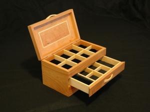 American-Cherry-Big-Leaf-Maple-Jewelry-Box-1-open-drawer