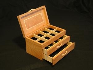 American-Cherry-Big-Leaf-Maple-Jewelry-Box-2-open-drawers