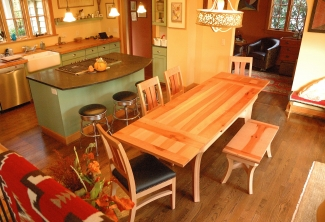 Pacific-Madrone-Bench-Chairs-and-Dutch-Pullout-Extension-Dining-Table-top-view