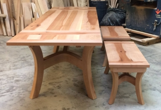 Pacific-Madrone-Benches-and-Dutch-Pullout-Extension-Dining-Table-end-view