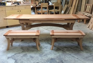 Pacific-Madrone-Benches-and-Dutch-Pullout-Extension-Dining-Table