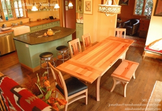 Pacific-Madrone-Leather-dining-chair-Dutch-Pull-Out-Extension-Table-Bench-chairs-top-view