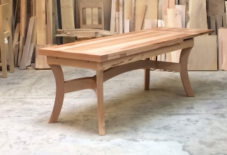 Pacific-Madrone-Dutch-Pull-Out-Extension-Table-angle-one-leaf-extended