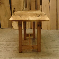 Oregon-White-Oak-Counter-Height-Wine-Tasting-Table-end-view