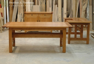 American-Cherry-Sidebaord-Work-Table-and-Computer-Desk-Three-Piece-Set