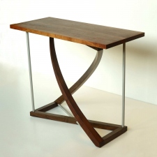 Twist-Western-Walnut-and-bead-blasted-aluminum-entry-table-angle