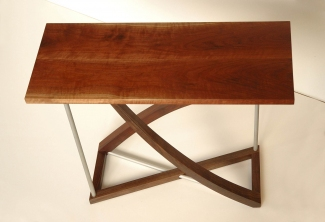 Twist-Western-Walnut-and-bead-blasted-aluminum-entry-table-top