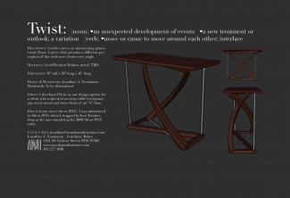 Twist-Western-Walnut-and-bead-blasted-aluminum-entry-table-Show-PDX-application