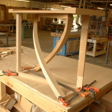 Twist-Western-Walnut-and-bead-blasted-aluminum-entry-table-prototype-dry-fit-angle