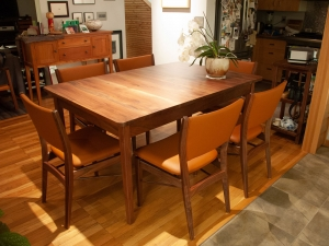 Western-Walnut-and-Leather-Finn-Juhl-Inspired-Dining-Chairs-and-Western-Walnut-Table