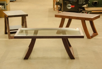 Western-Walnut-Coffee-Table-Side-Table-and-entry-bench-set