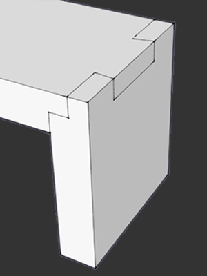 Shop Drawing of Dovetail Entry Bench that fades to picture