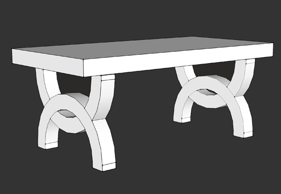 Shop Drawing of Eloise Bench that fades to picture