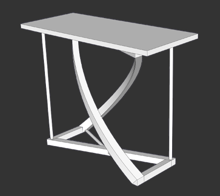 Shop Drawing of Twist Entry Table that fades to picture